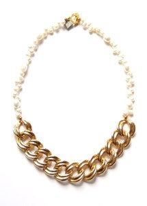 Image of Pearl and Vintage Chain Necklace 