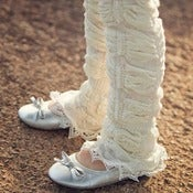 Image of Vanilla Leg Warmers with Lace - Newborn &amp; Child Size - NEW - Huggalugs