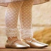 Image of Delicate Lacette Leg Warmers - Infant - Girl Size - Cream &amp; Black - Huggalugs