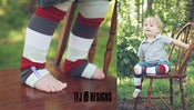 Image of Firetruck Stripe Leg Warmers - Red White Blue Grey - Newborn - 6 Mth - Huggalugs