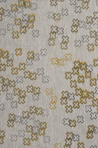Image of cross dotty mustard and steel linen