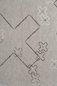 Image of cross stitch in dove grey, charcoal and white linen