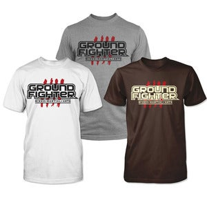 "Image of Ground Fighter ""Belt Stripes"" Shirts - Grey, White & Brown"