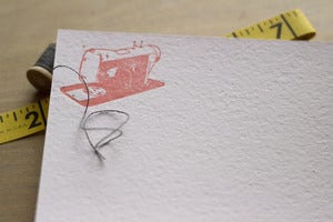 Image of sewing machine notecard