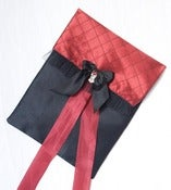 Image of Le Madeleine lingerie bag in red silk with silk tulle trim