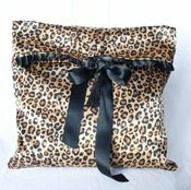 Image of Marceline leopard print lingerie bag - sleepmask bag in satin