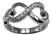 Image of Infinity Double Heart Cz Sterling Silver Ring , Promise