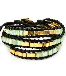 Image of Green & Gold Wrap Bracelet