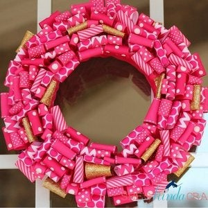 Image of Hot Pink & Glittery Gold Valentine's Day Wreath