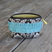 Image of zippered pouch - chocolate damask