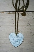 Image of Large enamel heart 'i will walk with you' quote necklace