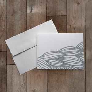 Image of WAVES BLOCK PRINTED GREETING CARD