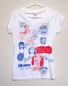 Image of One of a kind Red and Blue Freestyle V-Neck Shirt collab (Ladies Small) by Mildred and Pacolli