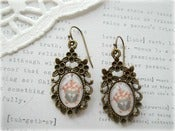 Image of Antique Brass Floral Framed Earrings with Owl and Floral House Picture