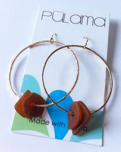 Image of Brown Beach Glass Hoop Earrings