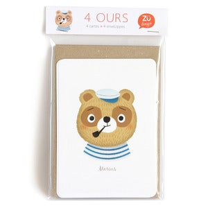 "Image of Lot de 4 cartes postales ""Ours"""