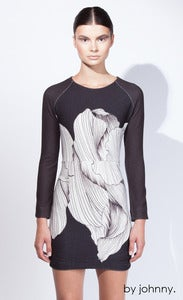 Image of The Petal Knit Sweater Dress - Petal Print Black