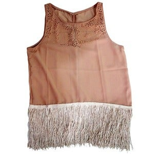 Image of Wren. - Blush Chiffon Fringed Blouse