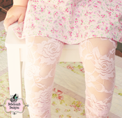 Image of Lace Tights in Baby Pink
