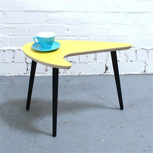 Image of Yellow Formica Kidney Table