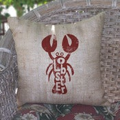 Image of Lobster Burlap Pillow