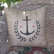 Image of Anchor Burlap Pillow