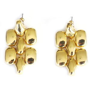 Image of Vintage 1970s Gold Tone Chain Link Drop Earrings