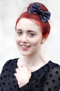 Image of Medium petrol Glitter bow clip