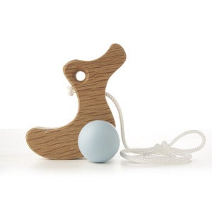Image of NEW! Oak Pull along Duckling - Duck Egg