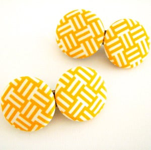 Image of Mustard Basketweave Hair Clips
