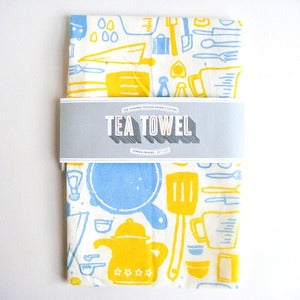 Image of Organic Cotton Tea Towel - Yellow &amp; Blue Kitchen