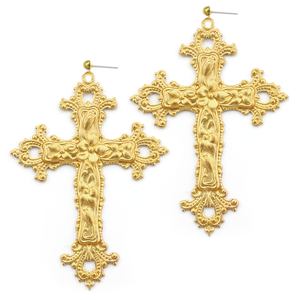 Image of Victoria. Huge Baroque Cross Earrings