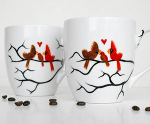 Image of Love Birds with Baby Bird and Nest-2 Coffee Mugs
