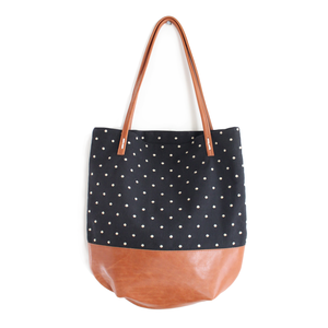 Riley Dot Tote - Black Dots