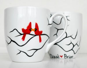Image of Gay Love Birds-Set of 2 Large Mugs