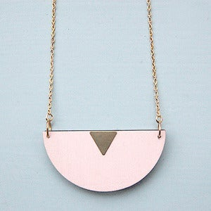 Image of Candy Pink Half Moon Wooden Necklace by Rachel Loves Bob