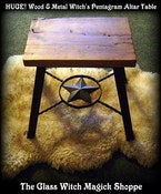 Image of HUGE! Wood & Metal Witch's Pentagram Altar Table