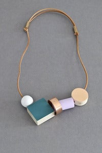 Image of Ladies and Gentlemen block and ring necklace - teal