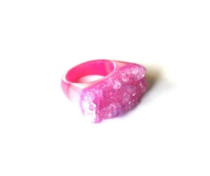 Image of Peony Raw Druzy Ring (v6)