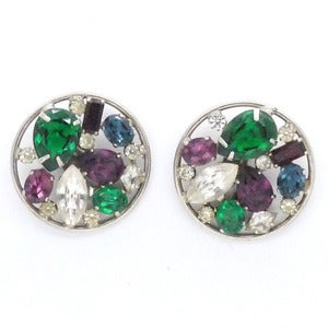Image of Vintage Oversized 1970s Clip On Rainbow Paste Glass Earrings