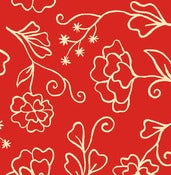 Image of Red Outline Floral from Summer House  5985-88