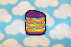 Image of 2&quot; triple stack neon burger pin