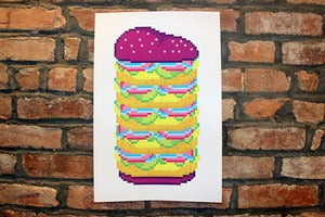 Image of neon burger screenprint