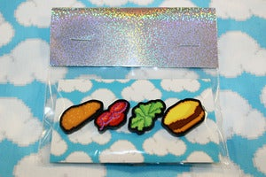 Image of burger pin set