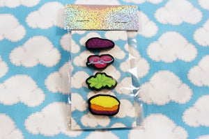 Image of neon burger pin set