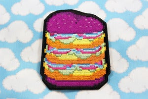 Image of iron-on neon burger patch