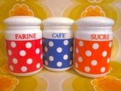 Image of 1970s Arcopal Spotty Trio - Cafe, Sucre And Farine