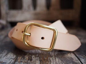 Image of Natural vegetable tanned leather belt