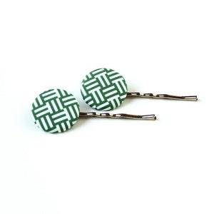 Image of Dark Green &amp; White Weave Button Hair Pins