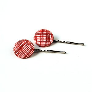 Image of Red Lines Fabric Button Hair Pins